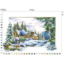 Схема для вишивки бісером Барвиста Вишиванка Пейзаж Зима 52х37 ТП011пн5237