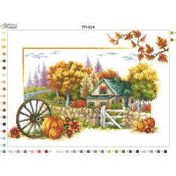 Схема для вишивки бісером Барвиста Вишиванка Пейзаж Осінь 52х37 ТП014пн5237