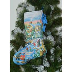 Набір ниток DMC для вишивки хрестиком до схеми для вишивання Пошитий новорічний чобіток Чарівна ковзанка ТР155аБ3149h