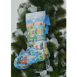 Набір для вишивки нитками Барвиста Вишиванка Пошитий новорічний чобіток Чарівна ковзанка 31х49 ТР155аБ3149i
