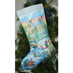 Пошитий новорічний чобіток для вишивання Вечірня ковзанка 31 см Х 49 см ТР157аБ3149