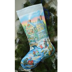 Набір ниток DMC для вишивки хрестиком до схеми для вишивання Пошитий новорічний чобіток Вечірня ковзанка ТР157аБ3149h