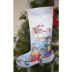 Набір ниток DMC для вишивки хрестиком до схеми для вишивання Пошитий новорічний чобіток Сніговики-Колядники ТР159аБ3149h