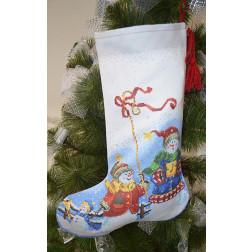 Набір для вишивки нитками Барвиста Вишиванка Пошитий новорічний чобіток Сніговики-Колядники 31х49 ТР159аБ3149i
