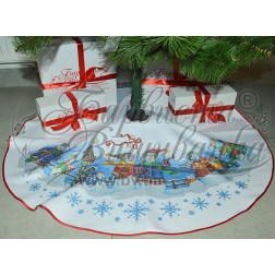 Схема для вишивки бісером і нитками Барвиста Вишиванка Пошита спідничка під ялинку Сніговики-Колядники 100d ТР160аБ9999