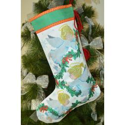 Пошитий новорічний чобіток для вишивання Ангелики 31 см Х 49 см ТР163аБ3149