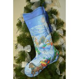 Набір для вишивки нитками Барвиста Вишиванка Пошитий новорічний чобіток Напередодні свята 31х49 ТР165аБ3149i
