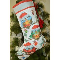 Набір для вишивки нитками Барвиста Вишиванка Пошитий новорічний чобіток Новорічні Сови 31х49 ТР167аБ3149i