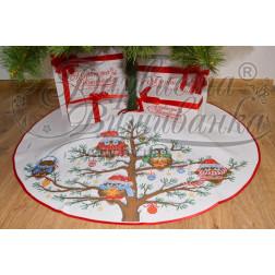 Схема Пошита спідничка під ялинку Новорічні Сови для вишивки бісером і нитками на тканині ТР168аБ9999