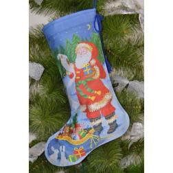 Набір для вишивки нитками Барвиста Вишиванка Пошитий новорічний чобіток Ніч чудес 31х49 ТР178аБ3149i