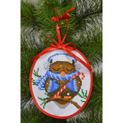 Набір для вишивки бісером Барвиста Вишиванка Пошита новорічна іграшка Сонька (серія: Новорічні Сови) 14х16 ТР180аБ1416k