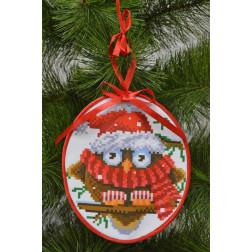 Набір для вишивки бісером Барвиста Вишиванка Пошита новорічна іграшка Мовчун (серія: Новорічні Сови) 14х16 ТР181аБ1416k