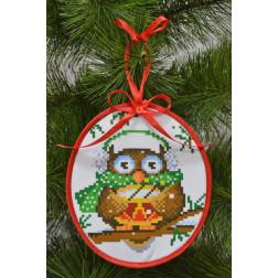 Набір для вишивки бісером Барвиста Вишиванка Пошита новорічна іграшка Веселун (серія: Новорічні Сови) 14х16 ТР182аБ1416k