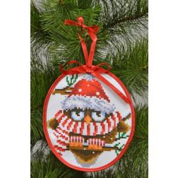 Набір для вишивки бісером Барвиста Вишиванка Пошита новорічна іграшка Розумник (серія: Новорічні Сови) 14х16 ТР183аБ1416k
