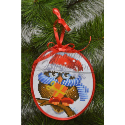Схема для вишивки бісером і нитками Барвиста Вишиванка Пошита новорічна іграшка Щедрик (серія: Новорічні Сови) 14х16 ТР184аБ1416