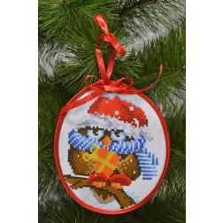 Набір для вишивки бісером Барвиста Вишиванка Пошита новорічна іграшка Щедрик (серія: Новорічні Сови) 14х16 ТР184аБ1416k