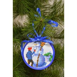 Схема для вишивки бісером і нитками Барвиста Вишиванка Пошита новорічна іграшка Ліпка (серія: Ковзанка) 10х10 ТР186аБ1010