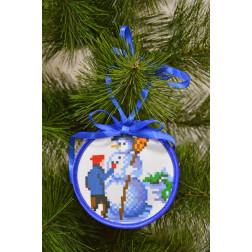 Набір для вишивки нитками Барвиста Вишиванка Пошита новорічна іграшка Ліпка (серія: Ковзанка) 10х10 ТР186аБ1010i
