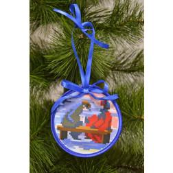 Пошита новорічна іграшка для вишивання Ковзани (серія: Ковзанка) 10см в діаметрі ТР187аБ1010