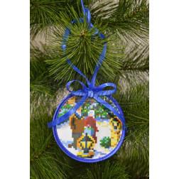 Схема для вишивки бісером і нитками Барвиста Вишиванка Пошита новорічна іграшка Променад (серія: Ковзанка) 10х10 ТР191аБ1010