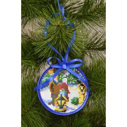Набір для вишивки нитками Барвиста Вишиванка Пошита новорічна іграшка Променад (серія: Ковзанка) 10х10 ТР191аБ1010i