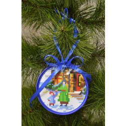 Схема для вишивки бісером і нитками Барвиста Вишиванка Пошита новорічна іграшка Прогулянка (серія: Ковзанка) 10х10 ТР192аБ1010