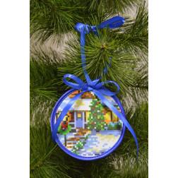 Пошита новорічна іграшка для вишивання Різдвяна хатинка (серія: Ковзанка) 10см в діаметрі ТР193аБ1010