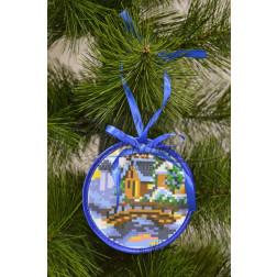 Схема для вишивки бісером і нитками Барвиста Вишиванка Пошита новорічна іграшка Місток (серія: Ковзанка) 10х10 ТР194аБ1010