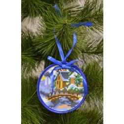 Набір для вишивки нитками Барвиста Вишиванка Пошита новорічна іграшка Місток (серія: Ковзанка) 10х10 ТР194аБ1010i
