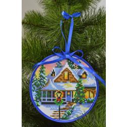 Набір для вишивки нитками Барвиста Вишиванка Пошита новорічна іграшка Святкова хатинка (серія: Ковзанка) 14х14 ТР195аБ1414i
