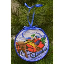 Пошита новорічна іграшка для вишивання Дорогою додому (серія: Напередодні свята) 14см в діаметрі ТР198аБ1414