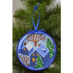 Пошита новорічна іграшка для вишивання Тихий вечір (серія: Ніч чудес) 14см в діаметрі ТР205аБ1414