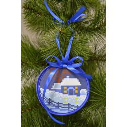 Пошита новорічна іграшка для вишивання Зимовий вечір (серія: Ніч чудес) 10см в діаметрі ТР209аБ1010
