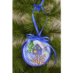 Пошита новорічна іграшка для вишивання Надвечір'я (серія: Ніч чудес) 10см в діаметрі ТР210аБ1010