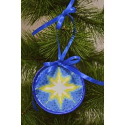 Пошита новорічна іграшка для вишивання Різдвяна зірка 10см в діаметрі ТР211аБ1010