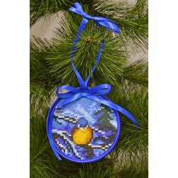 Пошита новорічна іграшка для вишивання Синичка 10см в діаметрі ТР212аБ1010