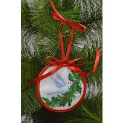 Пошита новорічна іграшка для вишивання Голуб (серія: Ангелики) 10см в діаметрі ТР213аБ1010