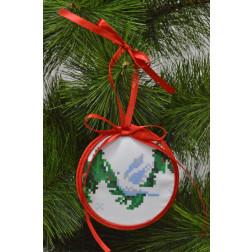 Пошита новорічна іграшка для вишивання Голубка (серія: Ангелики) 10см в діаметрі ТР214аБ1010