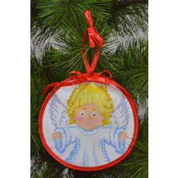 Пошита новорічна іграшка для вишивання Милий ангел (серія: Ангелики) 14см в діаметрі ТР216аБ1414