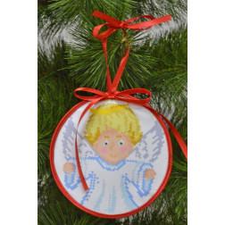 Пошита новорічна іграшка для вишивання Дбайливий ангел (серія: Ангелики) 14см в діаметрі ТР217аБ1414