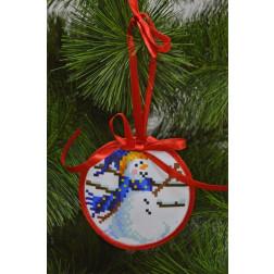 Набір для вишивки нитками Барвиста Вишиванка Пошита новорічна іграшка Бешкетник (серія: Сніговики-Колядники) 10х10 ТР229аБ1010i