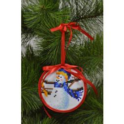 Пошита новорічна іграшка для вишивання Тихоня (серія: Сніговики-Колядники) 10см в діаметрі ТР230аБ1010