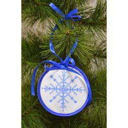 Пошита новорічна іграшка для вишивання Новорічна сніжинка (серія: Сніговики-Колядники) 10см в діаметрі ТР231аБ1010