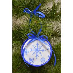 Пошита новорічна іграшка для вишивання Святкова сніжинка (серія: Сніговики-Колядники) 10см в діаметрі ТР232аБ1010