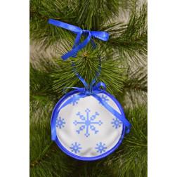 Пошита новорічна іграшка для вишивання Різдвяна сніжинка (серія: Сніговики-Колядники) 10см в діаметрі ТР233аБ1010