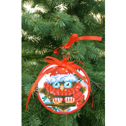Пошита новорічна іграшка для вишивання Мовчун (серія: Новорічні Сови) 10 см Х 10 см ТР368аБ1010