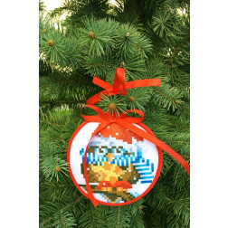 Пошита новорічна іграшка для вишивання Щедрик (серія: Новорічні Сови) 10 см Х 10 см ТР371аБ1010