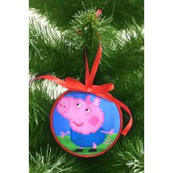Пошита новорічна іграшка для вишивання Джордж (серія: Свинка Пеппа) 10 см Х 10 см ТР373аБ1010