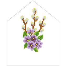 Набір для вишивки нитками Барвиста Вишиванка Пасхальна хустинка на лозу 20х25 ТР552пн2025i
