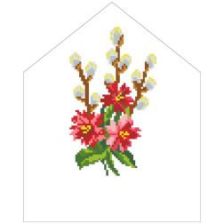 Набір для вишивки бісером Барвиста Вишиванка Пасхальна хустинка на лозу 20х25 ТР553пн2025k